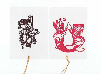 Laminated Paper Cut Bookmark Mickey Donald Duck & Naughty Monkey black & red