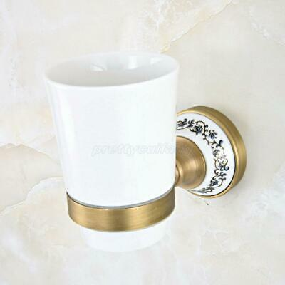Antique Brass Wall Mount Toothbrush Holder with Single Cup Bathroom Accessories