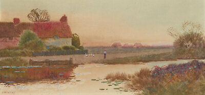 T. Rivers - 20th Century Watercolour, River Cottage in Pink