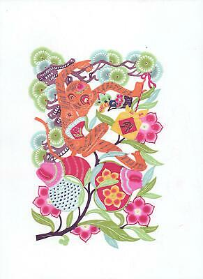 Chinese Paper Cuts Fortune Flowers Large Set 6 colorful single pieces