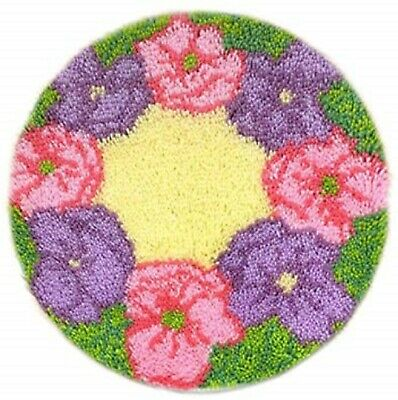 Round Floral Flowers Latch Hook Rug Wall Hanging Kit - 50 x 50 cm