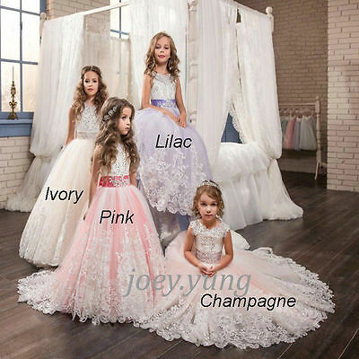 Flower Girl Dress Communion Formal Prom Princess Gown Pageant Bridesmaid Wedding