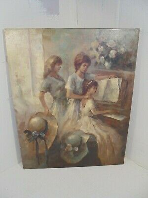 Antique Oil Painting , Piano Players