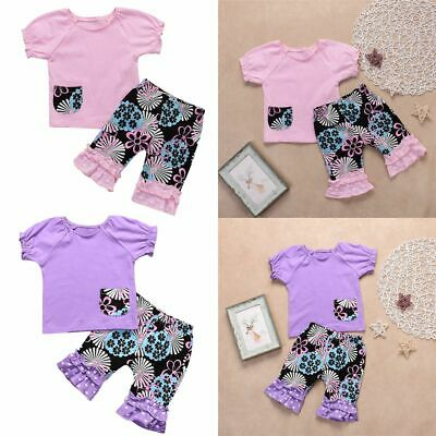 Clothes Ruffle Cropped Pants T-shirt Tops Short Sleeve Baby Girls Outfits Set