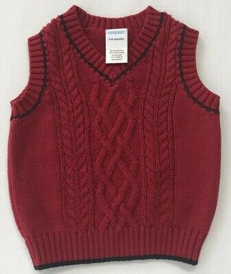 Gymboree Boys 3-6 Months Red Cable Knit Holiday Sweater Vest Very Merry
