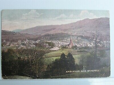 Postcard - Ambleside & Wansfell - Westmorland Cumbria Lake District - 1904