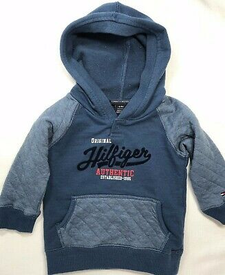 Tommy Hilfiger Baby Boys 6-9 Months Blue Hooded Sweatshirt with Quilted Sleeves