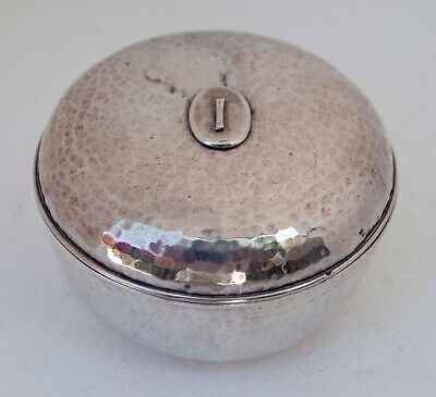 """Hand Hammered Art Deco Style Sterling Silver Lidded Box 1.5"""" X 3"""""""