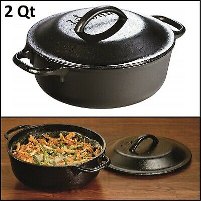 Cast Iron Dutch Oven 5 Quart Pre Seasoned Cooking Pot Dual Handle Kitchen Cooker
