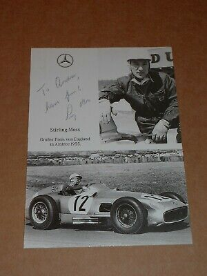 Stirling Moss 6 x 4 German Mercedes Photocard (Hand Signed)