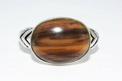 6.01Ct Natural Solitaire Tiger Eye Silver Ring Size 8.25