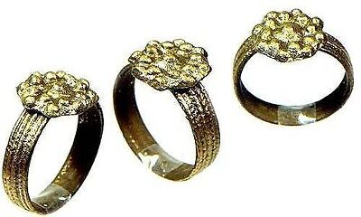 AD700 Roman Byzantine Constantinople Engraved Sculpted Starburst Ring Size 6¾