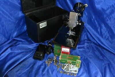Singer Featherweight 221 Sewing Machine 1-17-1955 Serviced Case Attachments Nice