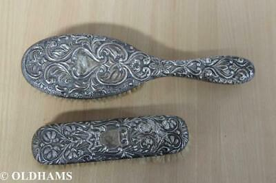 Solid Silver Victorian Brushes - Mappin & Webb (1820) - Levi Salaman (1898)