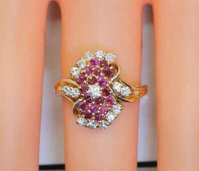 GORGEOUS & Ornate 14K Yellow Gold .75 Ct TW RB Diamond & Ruby Ring Size 6.5