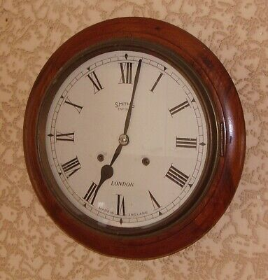 Antique Clock School Station Round Wall Clock Smiths Enfield 4 Small Restoration