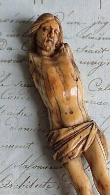 MAGNIFICENT ANTIQUE FRENCH HAND CARVED CORPUS CHRISTI FIGURE 18th C or earlier