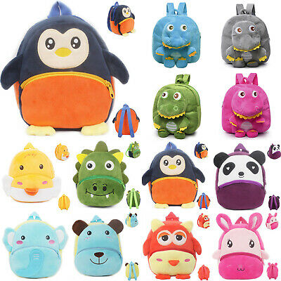 Kids Boys Girls Cartoon Animal Plush Doll Backpack Schoolbag Shoulders Bags Pack