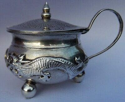 Very Fine Antique Chinese Export Solid Silver Mustard Pot; Cumshing Canton c1870