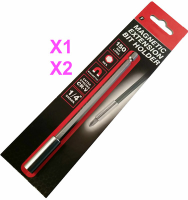 "1 or 2 Magnetic Bit Holders Extension1/4"" Hexagon Screwdriver Drill 150mm"
