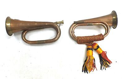 Pair Of Vintage BUGLES Copper And Brass Finish Display Decorative 1916  - M33