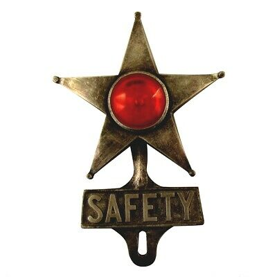 Aluminum Safety Star&Red Jewel Reflector License Plate Fob Metal Car Tag Topper