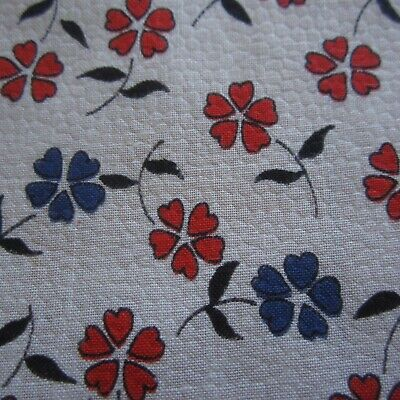49cm x 89cm Red White Blue Hearts Floral Embossed Vintage Cotton Fabric 1960s