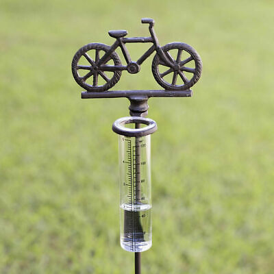 Bicycle Cast Iron Rain Gauge Garden Stake brand new with tags
