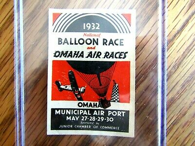 1932 National Balloon Race & Omaha Air Races Poster Stamp Junior Chamber Com