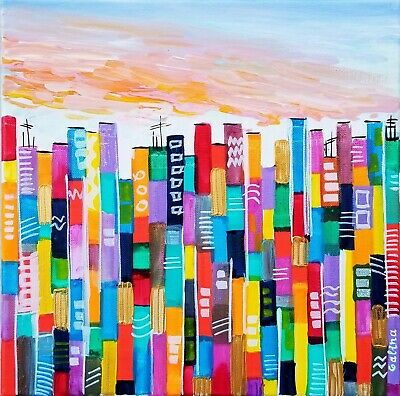 Windy Sunset in the City - Original Painting Colorful Abstract Stretched Canvas
