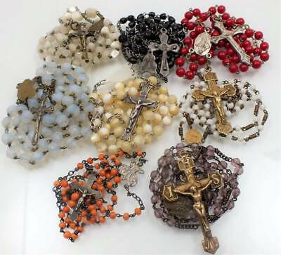 Vtg Small Childs Rosary Lot-Coral Red Glass Purple*italy Ricordo Czecho France