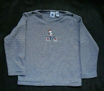 Petite Bateau France Toddler Boy Navy White Striped Long Sleeve Shirt Size 3