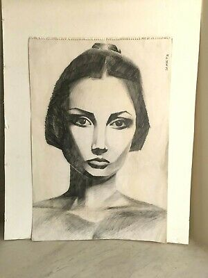 Original Graphite Pencil Drawing Portrait of a Young Woman. Signed. Deco Style
