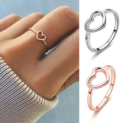 Women Heart Shape Hollow Finger Ring Band Wedding Engagement Jewelry Size 5-11