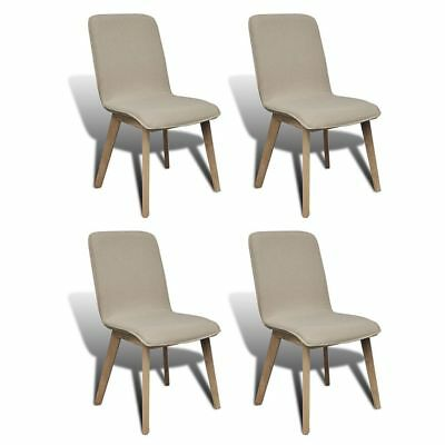 4 Dining Side Chair Solid Oak Frame Fabric Covered Beige Kitchen Furniture