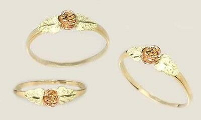 Quality Handcrafted South Dakota Black Hills 12kt Gold Red + Green Rose Ring Sz6