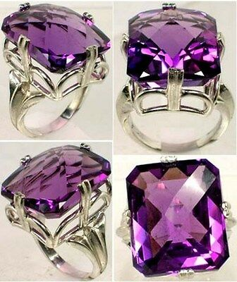 Amethyst Ring 25ct Handcrafted - Ancient Persia Egypt Sun Engraved Sorcery Gem