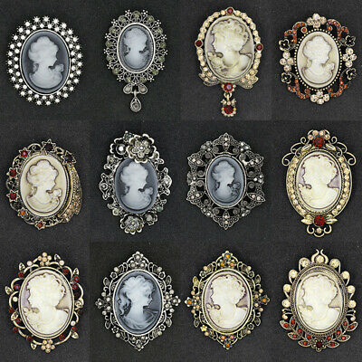 Vintage Cameo Victorian Style Crystal Bridal Wedding Party Women Brooch Pin Chic