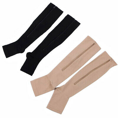 2 Pairs Zipper Medical Compression Socks Supports Leg Knee Stockings Open Toe