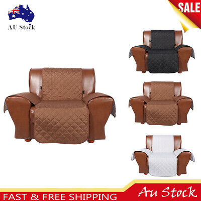 1-Seater Anti-Slip Quilted Sofa Couch Recliner Chair Pet Protector Cover au