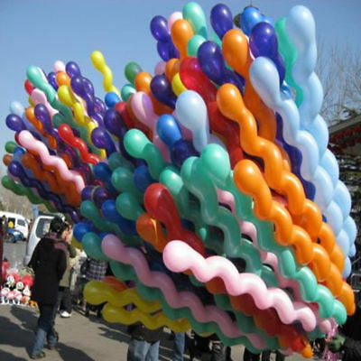 50X Giant Latex Rubber Helium Spiral Balloons Wedding Birthday Colorful