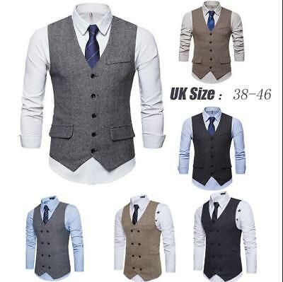 New Mens Classic Waistcoat Blend Wool Mix Tweed Collar Check Formal Vest Gilet