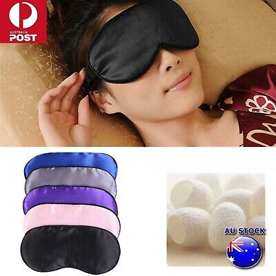 NEW 100% Pure Silk Sleeping Sleep Eye Mask Blindfold Lights Travel Relax Soft OZ