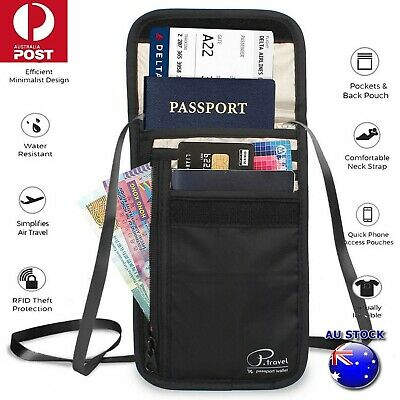 RFID Blocking Passport Card Holder Neck Stash Pouch Security Travel Wallet Bag