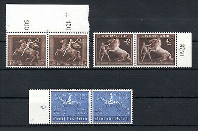 THIRD REICH , 1938 , 1939 , HORSE , the THREE TOP STAMPS in PAIRS !! , MNH !