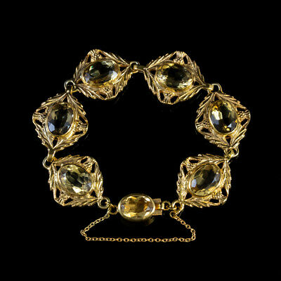 Antique Scottish Citrine Bracelet 18Ct Gold On Silver Victorian Circa 1880