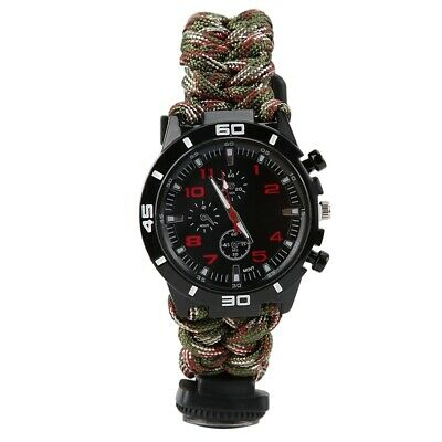 Multi-Function Outdoor Survival Umbrella Rope Woven Whistle flint Compass Watch