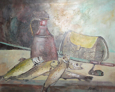 Vintage large oil painting still life signed