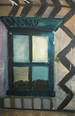 Vintage large oil painting window and pot
