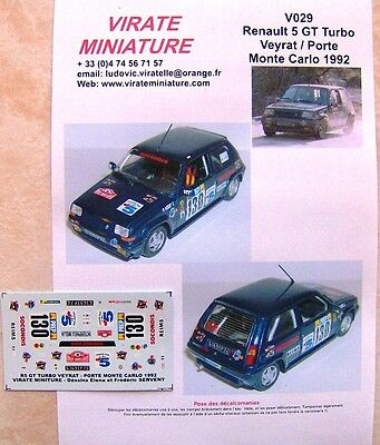 V047 RENAULT 5 TURBO TDC 7° RALLYE MONTE CARLO 1985 DANY SNOBECK DECALS VIRATE